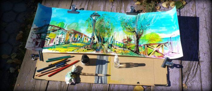 Рисунок набережной в Плёсе