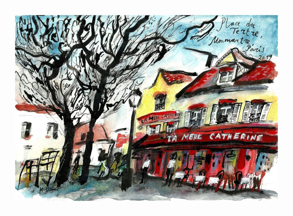 Блог Кати Осиной. Рисунки из Путешествий. Прогулка по Монмартру.